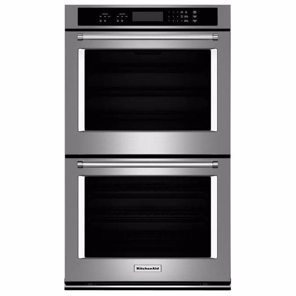 "KitchenAid - 30"" Double Wall Oven with Even-Heat™ Thermal Bake/Broil - Silver"