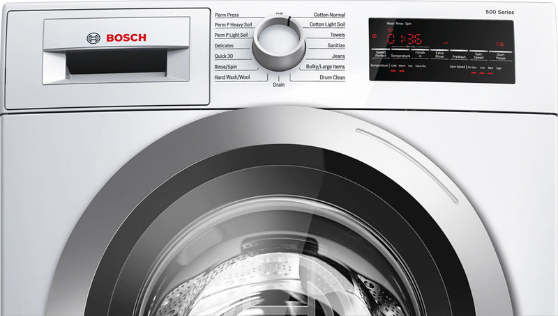 Bosch - 500 series 2.2 Cu. Ft. 15-Cycle High-Efficiency Compact Front-Loading Washer - White/Silver