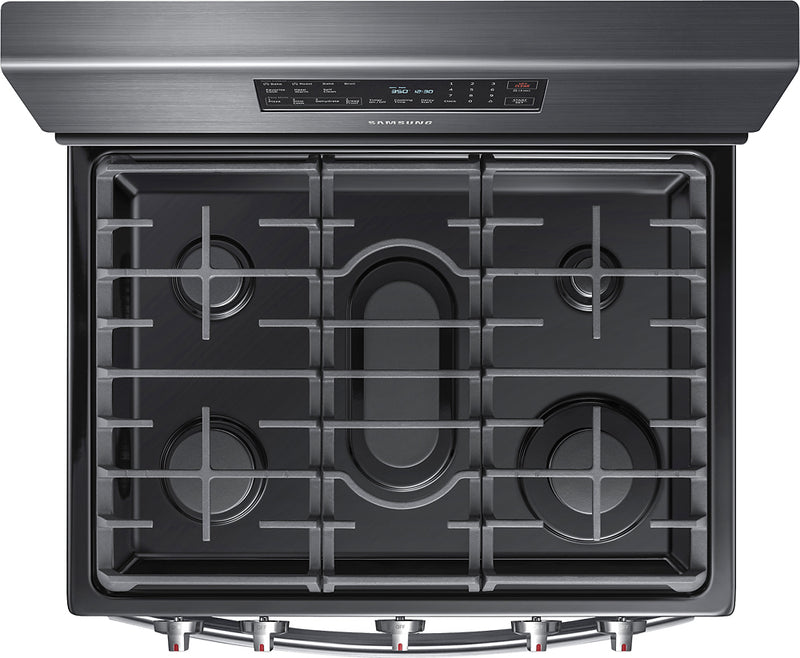 Samsung - 5.8 Cu. Ft. Self-Cleaning Freestanding Fingerprint Resistant Gas Convection Range - Black stainless steel