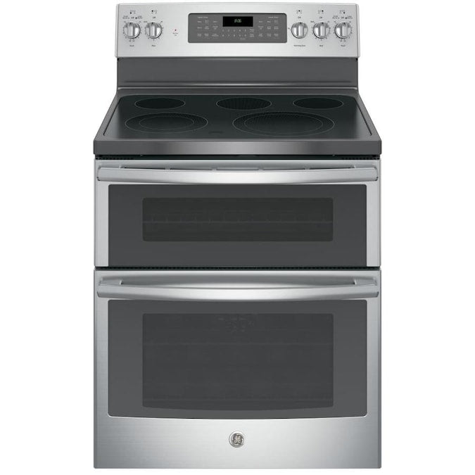 GE - 6.6 Cu. Ft. Self-Cleaning Freestanding Double Oven Electric Convection Range - Stainless steel