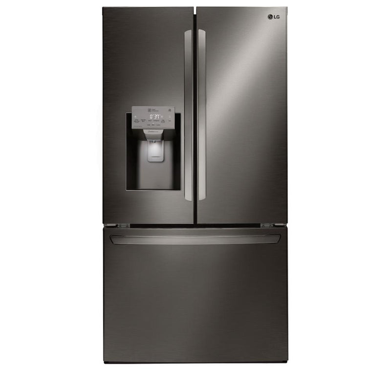 LG - 22 cu. ft. French Door Smart Refrigerator with Wi-Fi Enabled - Black Stainless Steel
