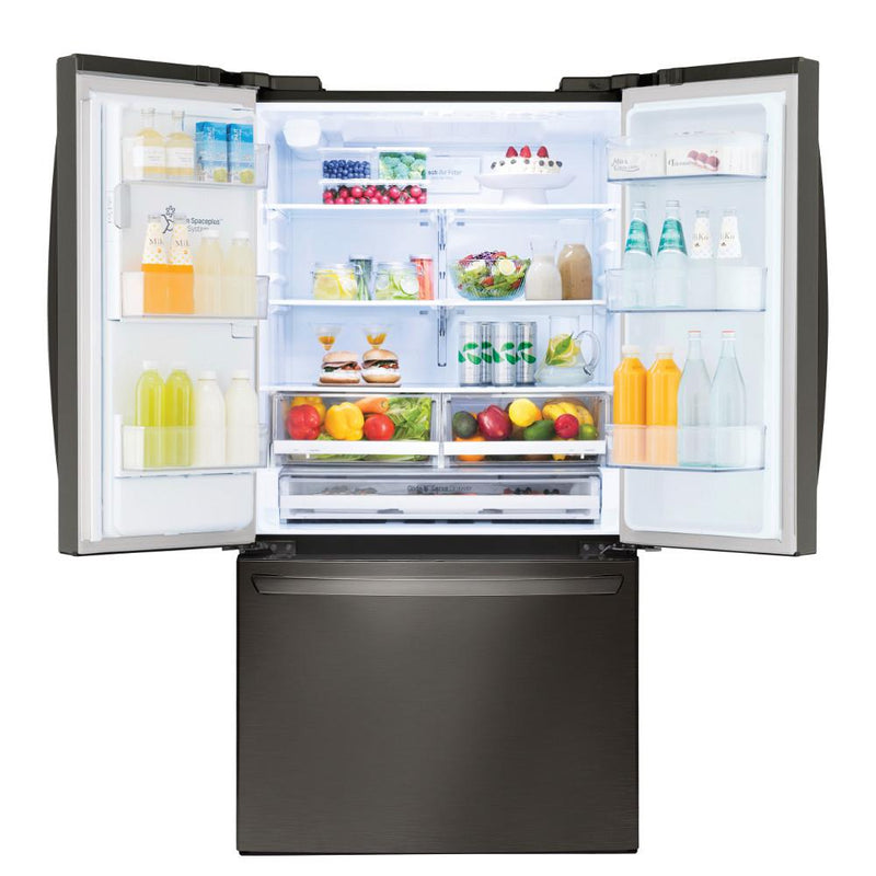 22 cu. ft. French Door Smart Refrigerator with Wi-Fi Enabled in Black Stainless Steel, Counter Depth