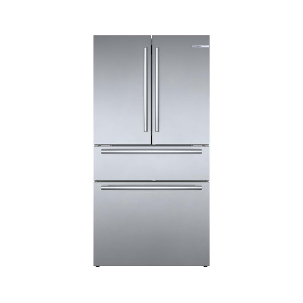 Bosch - 800 Series 36 in. 21 cu. ft. French 4 Door Refrigerator in Stainless Steel with Dual Compressor, Counter-Depth - Silver
