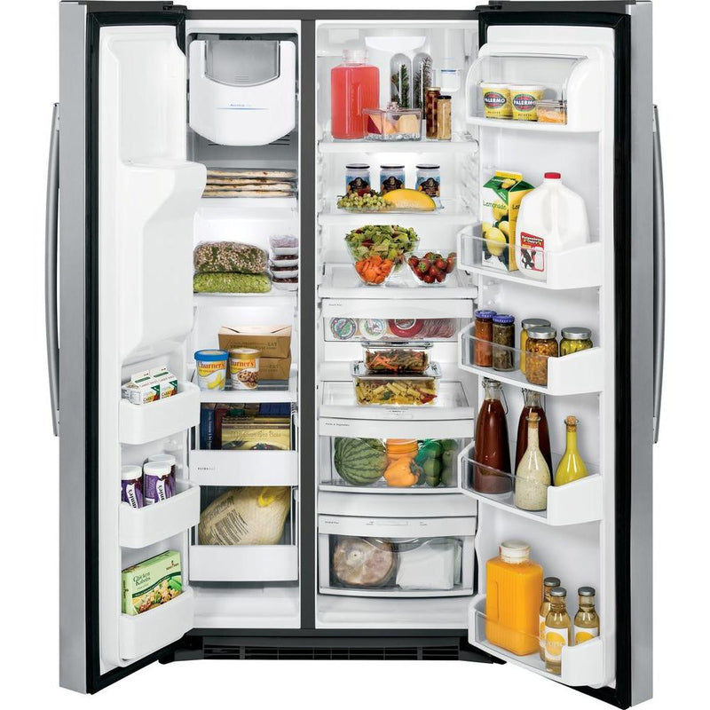 GE - 25.4 Cu. Ft. Side-by-Side Refrigerator with Thru-the-Door Ice and Water - Stainless steel