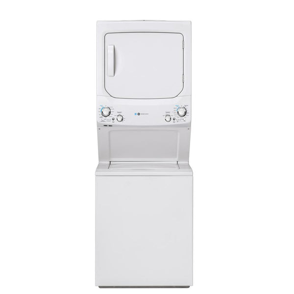 GE - Gas Stacked Laundry Center with 2.3-cu ft Washer and 4.4-cu ft Dryer - White