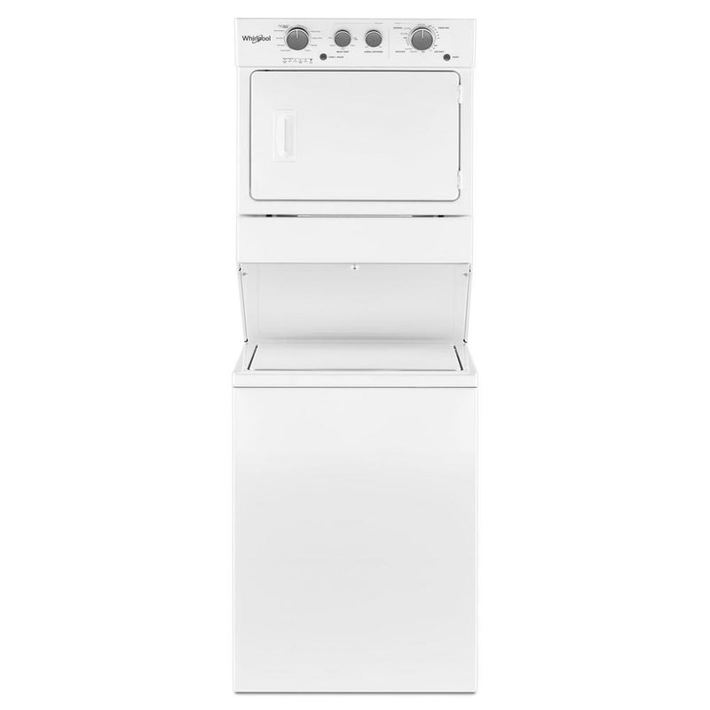 Whirlpool - 3.5 cu.ft Long Vent Gas Stacked Laundry Center 9 Wash cycles and Wrinkle Shield™ - White