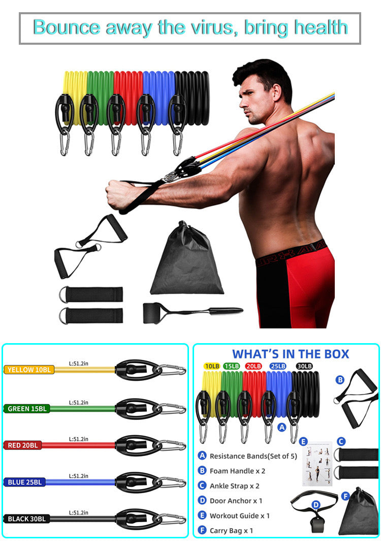 11 Piece Adjustable Resistance Bands Set