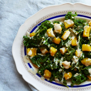 Steamed Kale with Roast Pumpkin and Garlicky Tahini Dressing