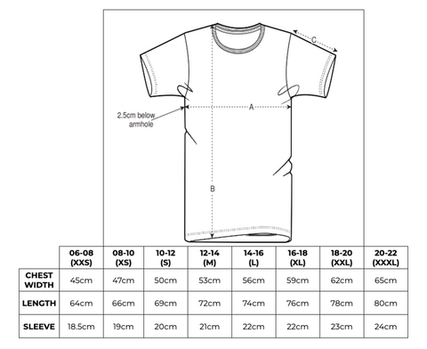 Hey! Holla Summer Statement Tee Size Chart