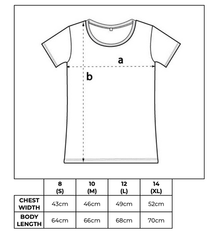 Hey! Holla wide neck tee size guide