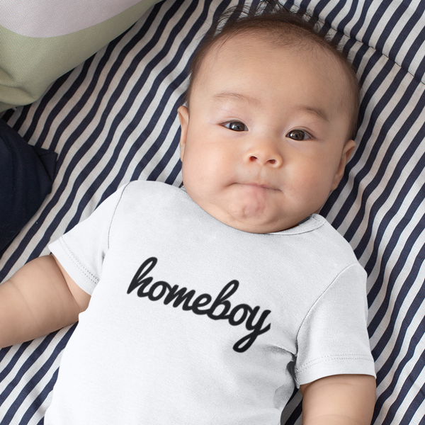HOMEBOY Baby Charity Slogan T-shirt | 100% Organic Cotton, White/Black - Hey! Holla