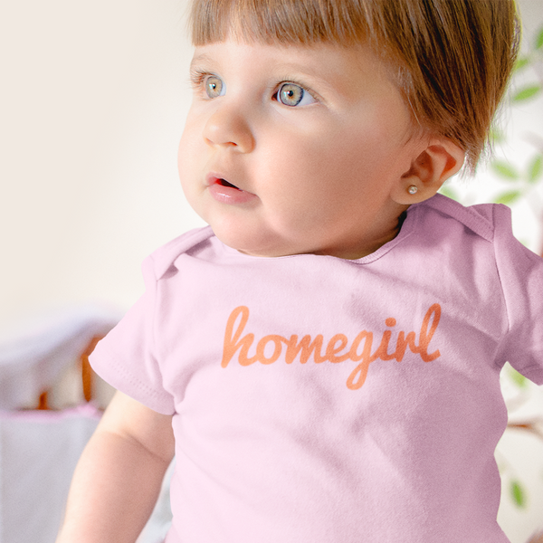 HOMEGIRL Baby Charity Slogan T-shirt | 100% Organic Cotton, Pink/Orange - Hey! Holla