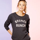 BRUNCH BUNCH | Organic Cotton Blend Dark Grey Slogan Sweatshirt - Hey! Holla