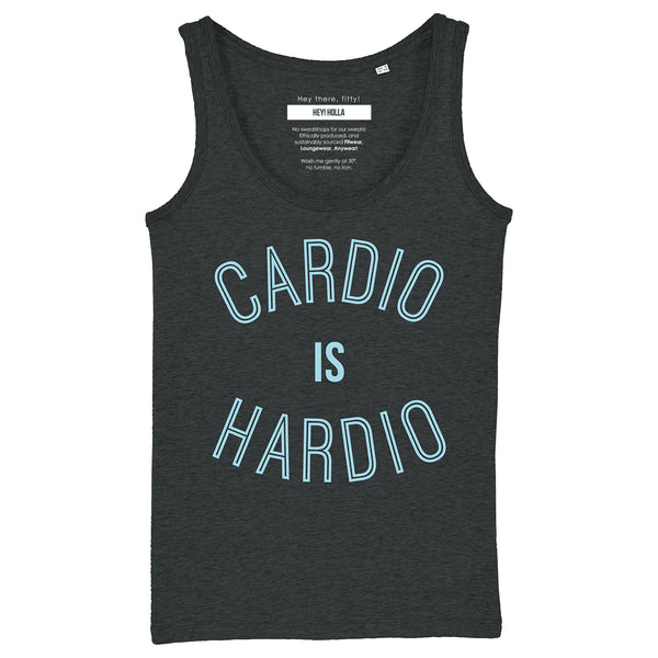 CARDIO IS HARDIO  |  Organic Cotton Grey Racerback Vest - Hey! Holla