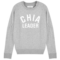 CHIA LEADER | Organic Cotton Blend Grey Slogan Sweatshirt - Hey! Holla
