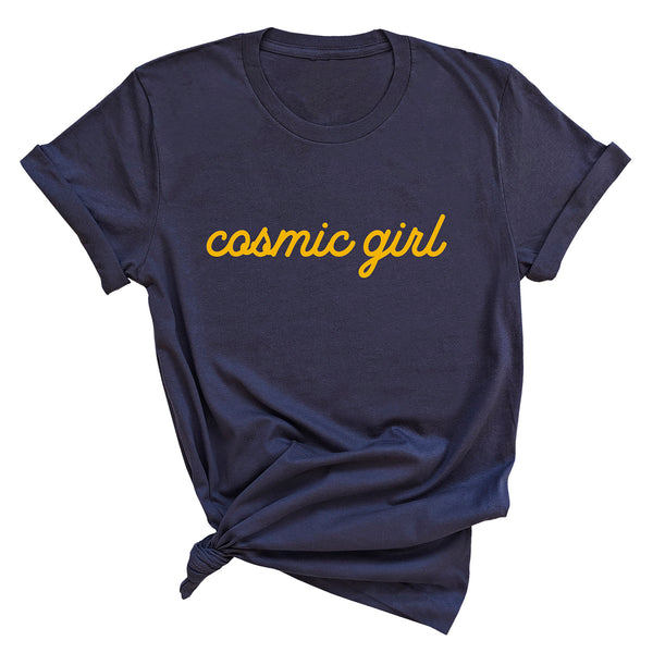 COSMIC GIRL  | 100% Organic Cotton Navy Slogan T-Shirt - Hey! Holla