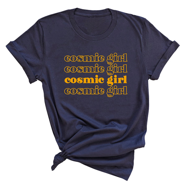 COSMIC GIRL Repeat  | 100% Organic Cotton Navy Slogan T-Shirt - Hey! Holla