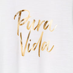 PURA VIDA Drop Armhole Tank,White Slub/Gold Foil - Hey! Holla