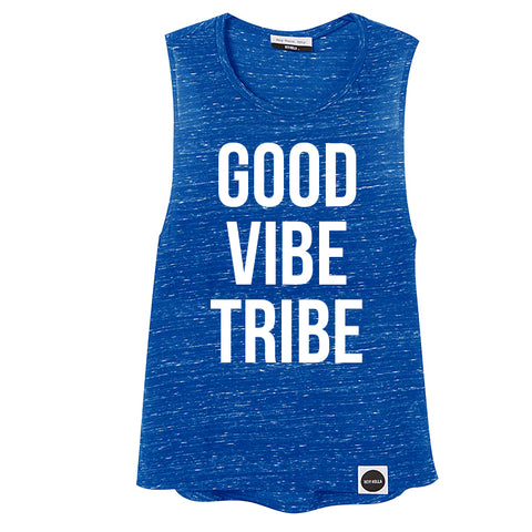 NEW!!!  GOOD VIBE TRIBE |  Limited Edition Drop Armhole Tank, Electric Blue - Hey! Holla