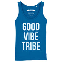 GOOD VIBE TRIBE |  Organic Cotton Blue Racerback Vest - Hey! Holla