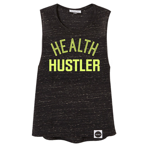 HEALTH HUSTLER Drop Armhole Tank, Black Marl / Citrus - Hey! Holla