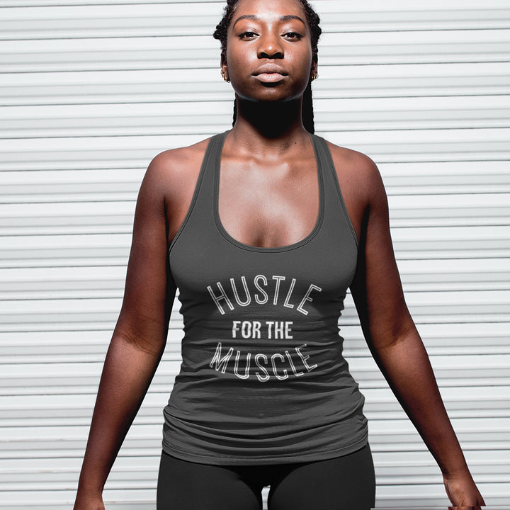 HUSTLE FOR THE MUSCLE  |  Organic Cotton Grey Racerback Vest - Hey! Holla