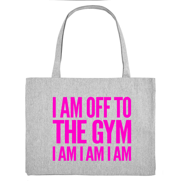 I AM OFF TO THE GYM, grey gym bag. Made from 100% recycled material. - Hey! Holla