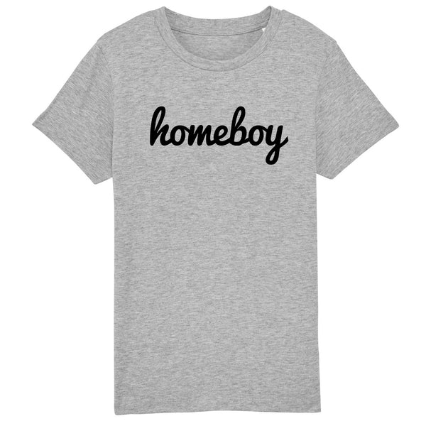 HOMEBOY Kids Charity Slogan T-shirt | 100% Organic Cotton, Grey/Black - Hey! Holla