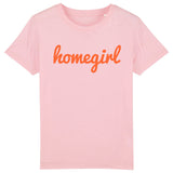 HOMEGIRL Kids Charity Slogan T-shirt | 100% Organic Cotton, Pink/Orange - Hey! Holla