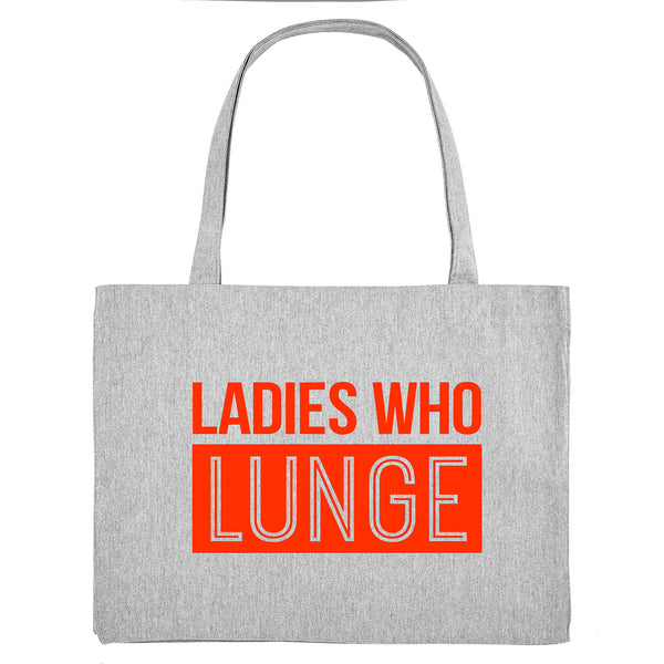 LADIES WHO LUNGE, grey gym bag. Made from 100% recycled material. - Hey! Holla