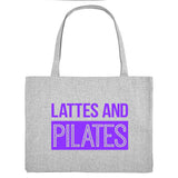 LATTES AND PILATES, grey gym bag. Made from 100% recycled material. - Hey! Holla