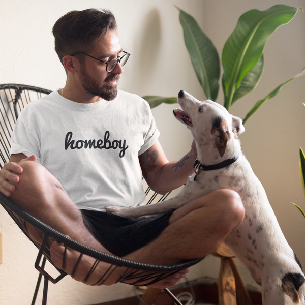 HOMEBOY Men's Charity Slogan T-shirt | 100% Organic Cotton, White/Black - Hey! Holla