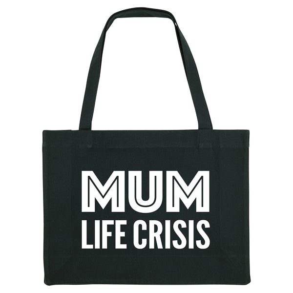 MUM LIFE CRISIS, black shopper bag. Made from 100% recycled material. - Hey! Holla