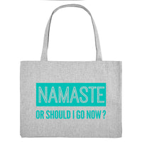 NAMASTE OR SHOULD I GO NOW, grey gym bag. Made from 100% recycled material. - Hey! Holla