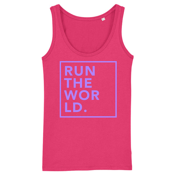RUN THE WORLD |  Organic Cotton Racerback Vest, Raspberry/Purple - Hey! Holla