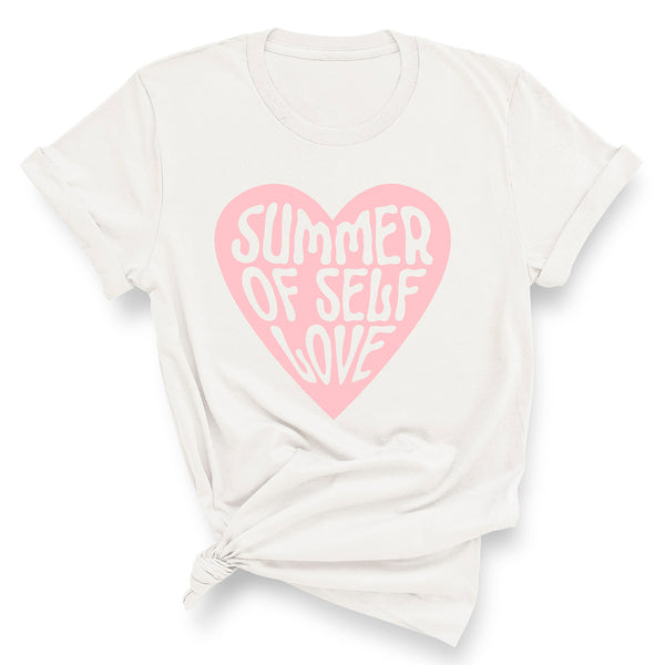 SUMMER OF SELF LOVE (Large Pink Heart)  | 100% Organic Cotton White Slogan T-Shirt - Hey! Holla