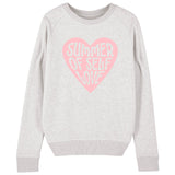 SUMMER OF SELF LOVE (Large Pink Heart)  | Organic Cotton Grey Slogan Sweatshirt - Hey! Holla