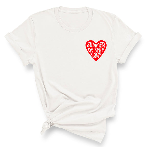 SUMMER OF SELF LOVE (Small Red Heart)  | 100% Organic Cotton White Slogan T-Shirt - Hey! Holla