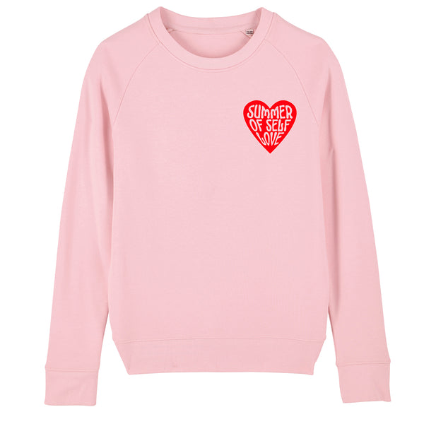 SUMMER OF SELF LOVE (Small Red Heart)  | 100% Organic Cotton Pink Slogan Sweatshirt - Hey! Holla