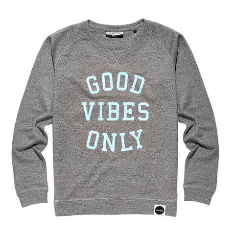 GOOD VIBES ONLY Organic Blend Sweatshirt Mid Grey/Pastel Blue