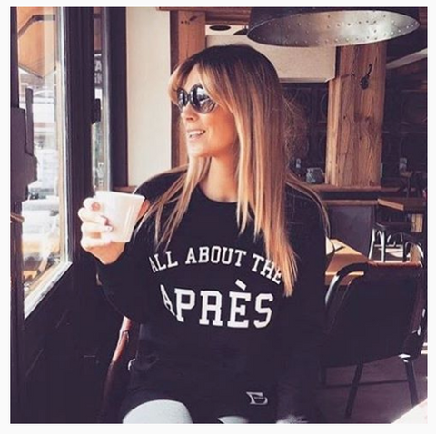 PRE-ORDER | ALL ABOUT THE APRÈS  | Women's Organic Blend Sweatshirt,  BLACK - Hey! Holla