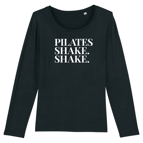 PILATES SHAKE SHAKE LONG SLEEVE T-SHIRT | 100% Organic Cotton, Black/White - Hey! Holla