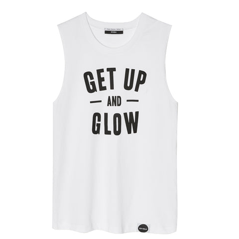 GET UP AND GLOW Muscle Tee White/Black - Hey! Holla