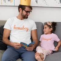HOMEBOY Men's Charity Slogan T-shirt | 100% Organic Cotton, White/Orange - Hey! Holla