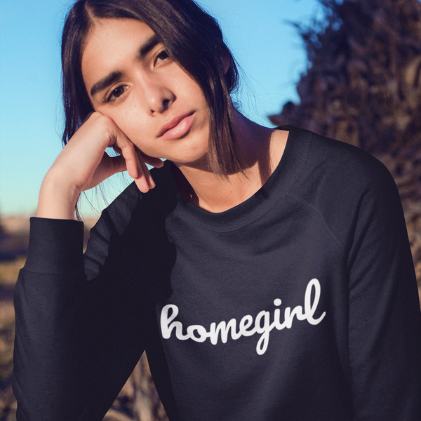 HOMEGIRL Women's Charity Slogan Sweatshirt | 100% Organic Cotton, Black/White - Hey! Holla