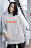 HOMEGIRL Women's Charity Slogan Sweatshirt | 100% Organic Cotton, Grey/Orange - Hey! Holla