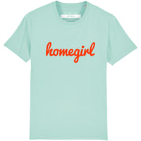 HOMEGIRL Women's Charity Slogan T-shirt | 100% Organic Cotton, Turquoise/Red - Hey! Holla