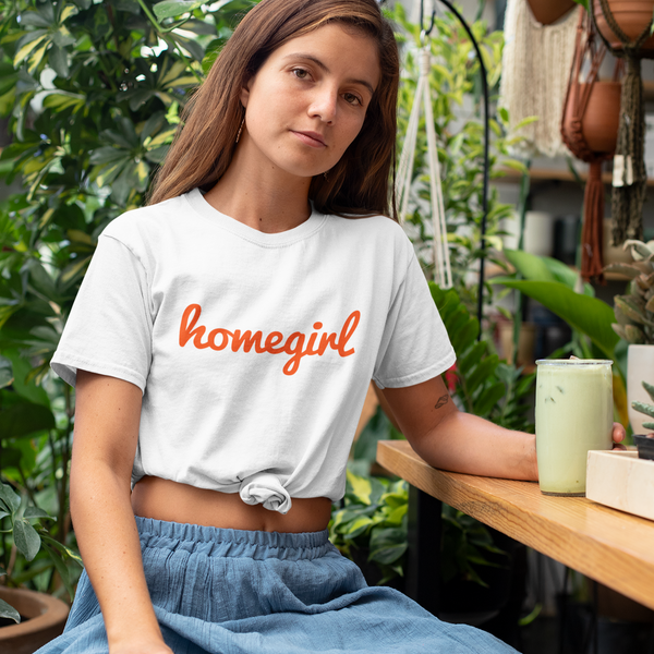HOMEGIRL Women's Charity Slogan T-shirt | 100% Organic Cotton, White/Orange - Hey! Holla