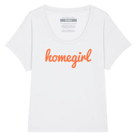 HOMEGIRL Women's Charity Slogan T-shirt | 100% Organic Cotton, White/Orange, WIDE NECK - Hey! Holla