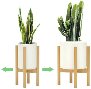 Adjustable Bamboo Plant Stand for Indoor Plants (8 to 12 inches)